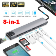 8 in1 USB-C To Type-C 3 USB 3.0 Hub HDMI RJ45 Ethernet Micro SDTF OTG